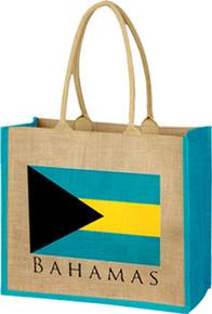 Bahamas Flag with Text Burlap Bag