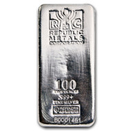 Republic Metals Corporation 100 oz Silver Bar