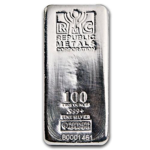 Republic Metals Corporation 100 oz Silver Bar