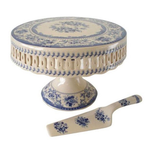 Powell Craft - Blue Rose Porcelain Cake Stand