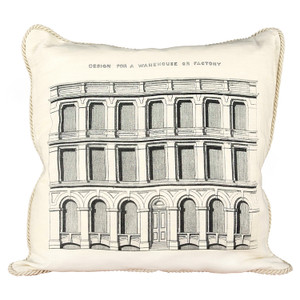 Design for a Warehouse or Factory Ox Bow Linen Pillow