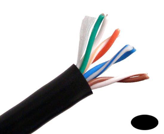 Primus Cable CAT5E Outdoor,UV, 1000ft, Black, C5CMX-414BK