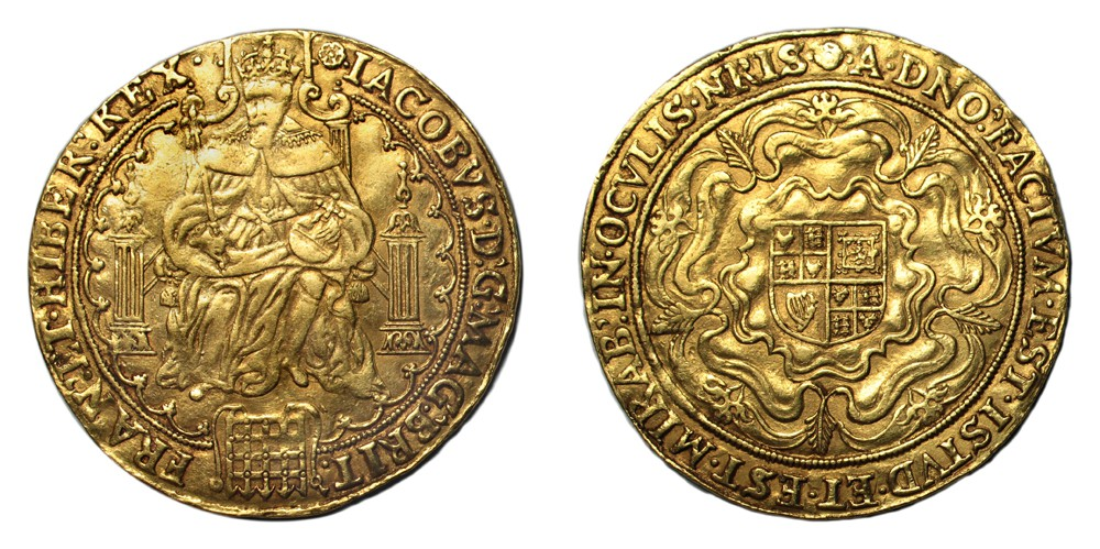 Lot 104 Great Britain James I Gold Rose Ryal mm. Rose (1605-6) VF