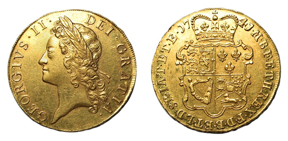 Lot 109 Great Britain George II 1741 Gold Five Guineas EF