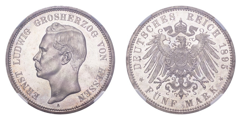 The Coin Cabinet Lot 52 Germany: Hesse-Darmstadt Ernst Ludwig 1895-A 5 Mark NGC MS64