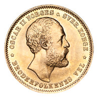 Norway Gold Coin Oscar II 1876 Gold 20 Kroner Choice UNC