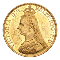Great Britain Victoria 1887 Gold 5 Pounds AUNC
