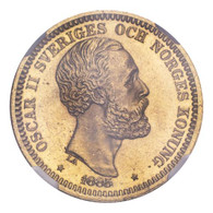 Sweden Oscar II 1885 Gold 20 Kronor NGC MS64