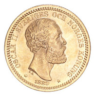 Sweden Oscar II 1889 Gold 20 Kronor Choice UNC