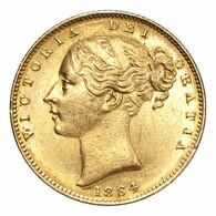 Great Britain Victoria 1864 Gold Sovereign Shield EF