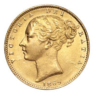 Great Britain Victoria 1869 Gold Sovereign Shield EF