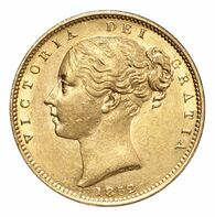 Great Britain Victoria 1852 Gold Sovereign Shield EF