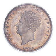 Great Britain George IV 1825 Shilling Lovely toning PCGS MS63