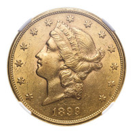 United States Liberty Head 1899-S Gold 20 Dollars NGC AU55