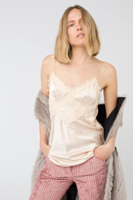 Dorothee Schumacher Neutral Satin Stretch Cami with Lace