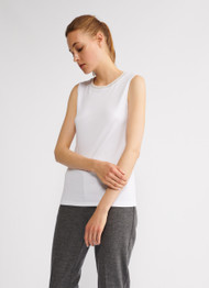 Fabiana Filippi Cotton Top with Knit Collar