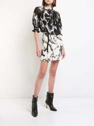 Adam Lippes Printed Pebble Chiffon Mock Neck Blouse
