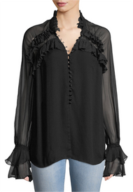 Jonathan Simkhai Chiffon Lace Button Blouse