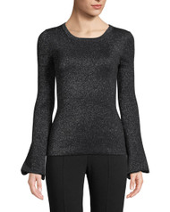 Michael Kors Peasant Sleeved Scoop Neck Metallic