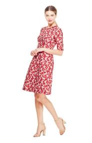 Lela Rose Petite Floral Coupé Holly Elbow Sleeve Dress