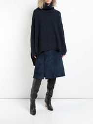 Adam Lippes Navy Marled Cashmere Boxy Turtleneck Sweater with Side Slits