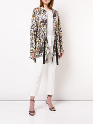 Adam Lippes Printed Cotton Poplin Anorak with Side Ties