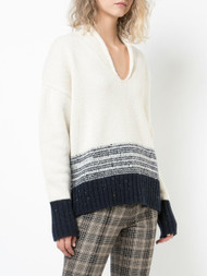 Adam Lippes Marled Wool Cashmere Deep V-Neck Sweater