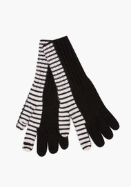 JED Cashmere Bifurcated Stripe Gloves