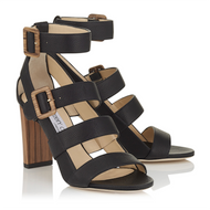 Jimmy Choo Maya Black Grainy Leather and Wood Sandal