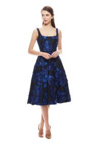 Lela Rose Cut Fringe Scoop Neck Dress
