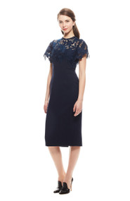 Lela Rose Leaf Guipure Lace Fitted Dress