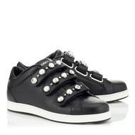 Jimmy Choo NY Black Leather Sneaker with Beads and Crystals
