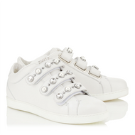 Jimmy Choo NY White Leather Sneaker with Beads and Crystals