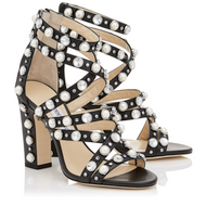 Jimmy Choo Moore Black Sandal with Beads and Crystals