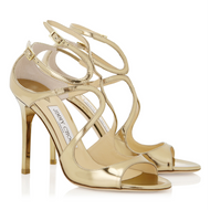 Jimmy Choo Lang Gold Mirror Leather Sandal