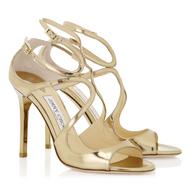 Jimmy Choo Lang Gold Mirror Leather Sandal