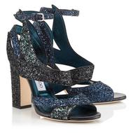Jimmy Choo Falcon Navy Coarse Glitter Sandal