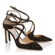 Jimmy Choo Lancer Black Suede Pump with Multi-Colored Crystals