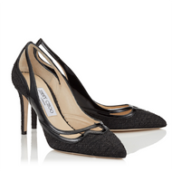 Jimmy Choo Hickory Woven Canvas and Patent Pump