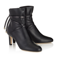 Jimmy Choo Dalal Black Calf Leather Bootie with Elaphe Strap