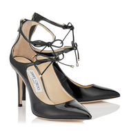 Jimmy Choo Sage Black Patent Two Tie Pump