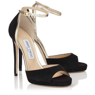 Jimmy Choo Pearl Black Gold Peep Toe Platform