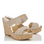 Jimmy Choo Parker Gold Cork Wedge