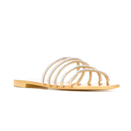 Giuseppe Zanotti Mekong Gold Mirror Leather Sandal with Crystal Straps