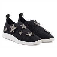 Giuseppe Zanotti Donna Black Shimmer Slip On Sneaker with Crystal Star Design