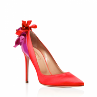 Aquazzura Fire Carnation Red Suede Satin Pump with Bow Decoration