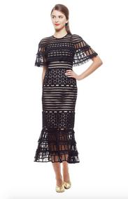 Lela Rose Fringe Guipure Flounce Hem Capelet Dress