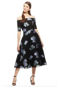 Lela Rose Metallic Floral Off-The-Shoulder Dress