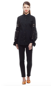 Lela Rose Black Poplin Lace Full Sleeve Top