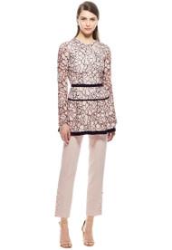 Lela Rose Long-Sleeve Lace Peplum Top